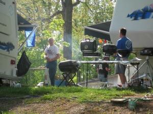 Festival campers preparing dinner